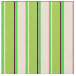[ Thumbnail: Hot Pink, Lime, Beige, Green & Black Stripes Fabric ]