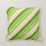 [ Thumbnail: Hot Pink, Lime, Beige, Green & Black Stripes Throw Pillow ]