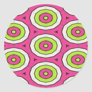 Hot pink, lime green and white bulls eye art classic round sticker