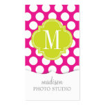 Hot Pink & Lime Green Big Polka Dots Monogrammed Business Card