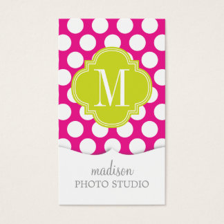Hot Pink & Lime Green Big Polka Dots Monogrammed Business Card