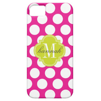 Hot Pink & Lime Green Big Polka Dots Monogrammed iPhone SE/5/5s Case