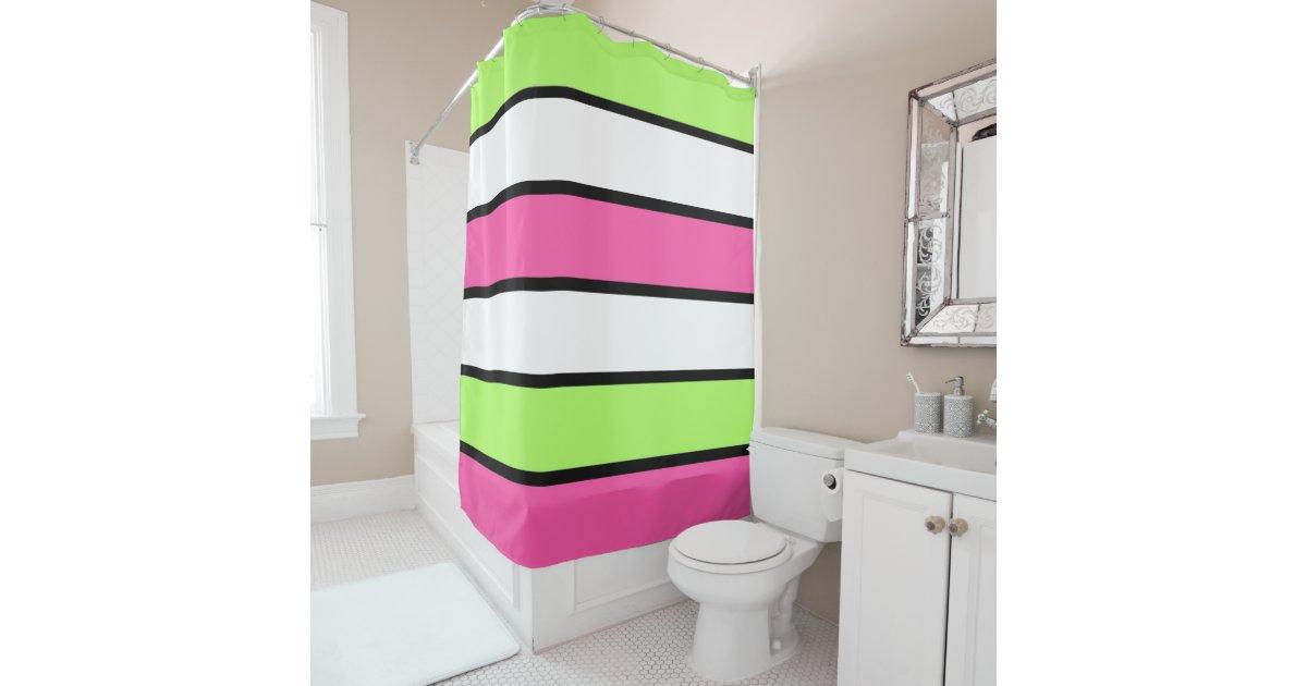 hot pink lime green black and white stripes shower curtain. Black Bedroom Furniture Sets. Home Design Ideas