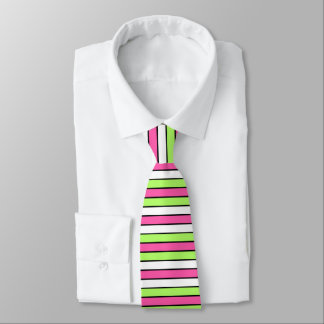 Hot Pink, Lime Green, Black and White Stripes Tie