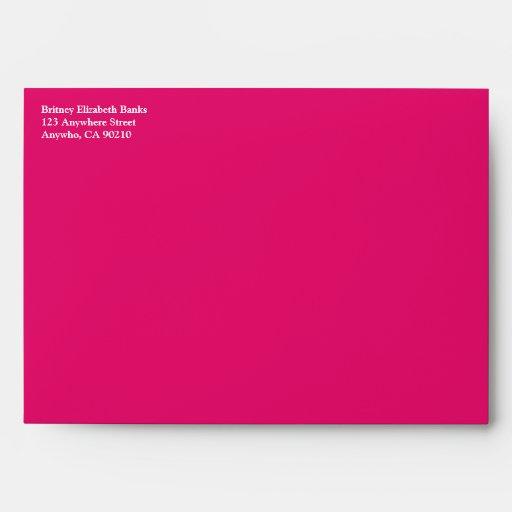 Hot Pink & Lime Green Damask Wedding Envelopes