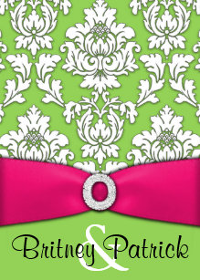 Hot Pink Lime Green Damask Wedding Invitations
