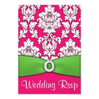 Hot Pink & Lime Green Damask Wedding RSVP Cards
