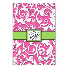 Hot Pink & Lime Green Damask Wedding RSVP Cards 3.5