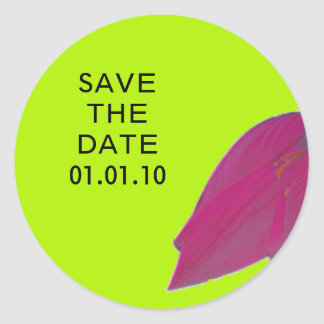 Hot Pink & Lime Green Flower Save the Date Sticker