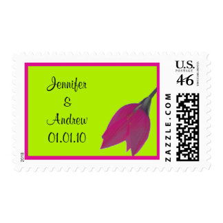 Hot Pink Lime Green Flower Wedding Date Stamp