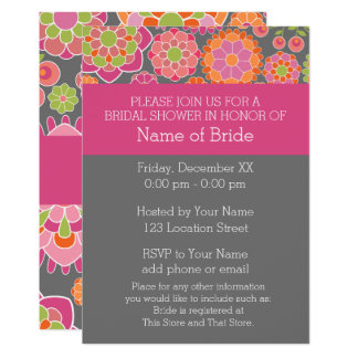 Hot Pink & Lime Green Flowers - Bridal Shower Card