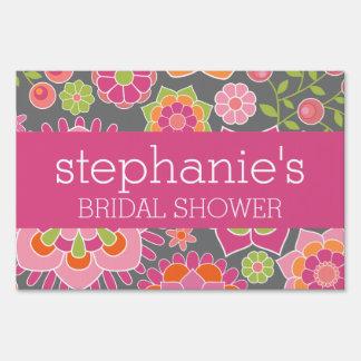 Hot Pink & Lime Green Flowers - Bridal Shower Sign