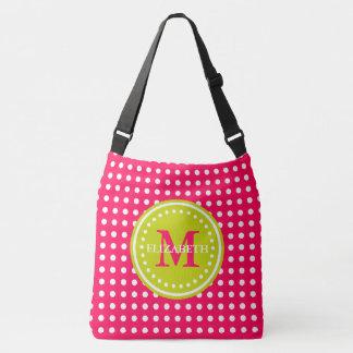 Hot Pink Lime Green Polka Dot Monogram Diaper Bag