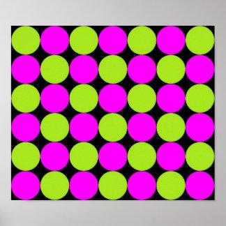 Hot Pink & Lime Green Polka Dots Poster