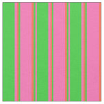 [ Thumbnail: Hot Pink, Lime Green & Red Lined Pattern Fabric ]