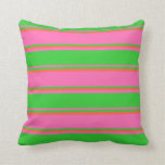 [ Thumbnail: Hot Pink, Lime Green & Red Lined Pattern Pillow ]