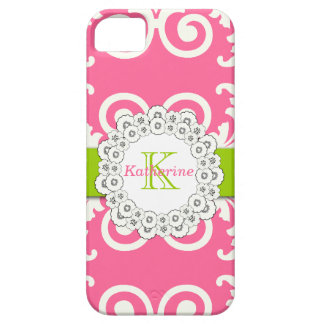 Hot Pink Lime Green Swirls Floral Pattern iPhone 5 Covers