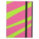 HOT PINK LIME GREEN ZEBRA STRIPES PATTERN iPad COVERS