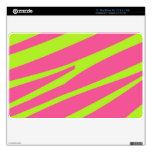 Hot Pink Lime Green Zebra Stripes Pattern Skin For The MacBook