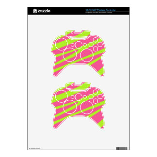 Hot Pink Lime Green Zebra Stripes Pattern Skins Xbox 360 Controller Skin