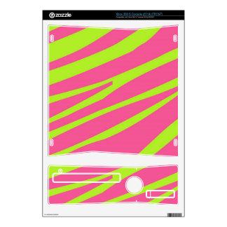 Hot Pink Lime Green Zebra Stripes Pattern Skins Skins For Xbox 360 S