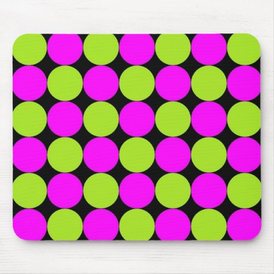 Hot Pink & Lime Polka Dots Mouse Pad