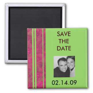 Hot Pink & Lime Stripe Save the Date Fridge Magnets
