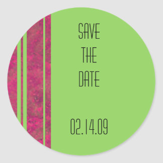 Hot Pink & Lime Stripe Save the Date Stickers