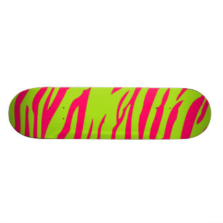 Hot Pink Lime Zebra Print Animal Comp Skateboard