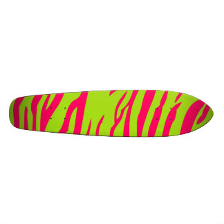 Hot Pink Lime Zebra Print Old School Skateboard