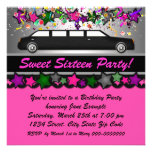 Hot Pink Limousine Birthday Party Announcements