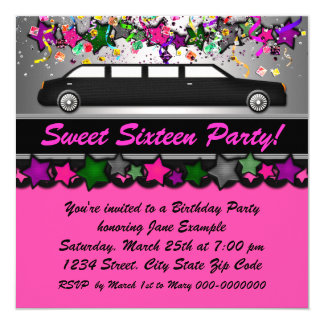Hot Pink Limousine Birthday Party Card