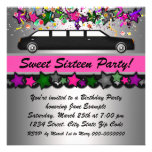 Hot Pink Limousine Sweet Sixteen Party Invitations