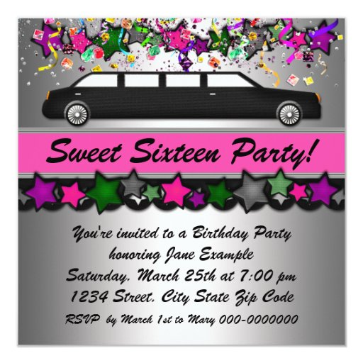 Hot Pink Limousine Sweet Sixteen Party Invitations 5.25