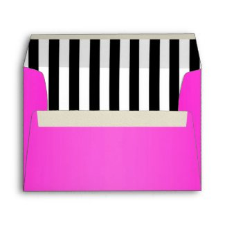 Hot Pink Lined with Black and White Stripes envelope
