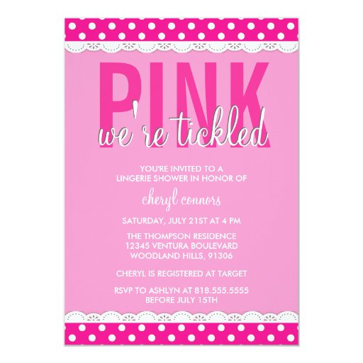 Hot Pink Lingerie Shower Invitation