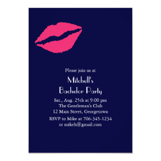 Hot Pink Lips Bachelor Party Invitation (blue)
