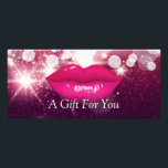 """Hot Pink Lips Glitter Sparkles Gift Certificate<br><div class=""""desc"""">================= ABOUT THIS DESIGN ================= Hot Pink Lips Glitter Sparkles Gift Certificate Card. (1) For further customization, please click the &quot;Customize it&quot; button and use our design tool to modify this template. All text style, colors, sizes can be modified to fit your needs. (2) If you need help or matching...</div>"""