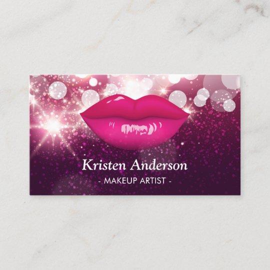 Hot Pink Lips Glitters Beauty Salon Makeup Artist Business Card Zazzle