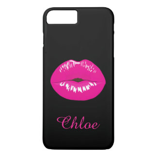 Hot Pink Lips Kiss Name Monogram Black iPhone Case