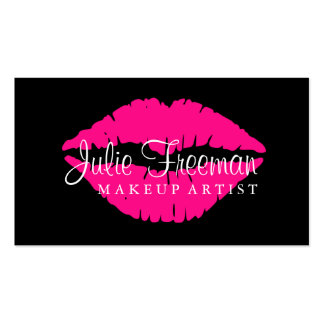 Hot Pink Lips Makeup Artist Salon Card Double-Sided Standard Business Cards (Pack Of 100)