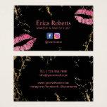 Hot Pink Lips Makeup Artist Trendy Black & Gold Business Card