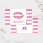 Hot Pink Lips Modern Stripes Makeup Artist Business Card