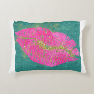 HOT PINK LIPS ON TEAL LINEN DECORATIVE PILLOW
