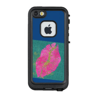 Hot Pink Lips on Teal Linen iPhone Case