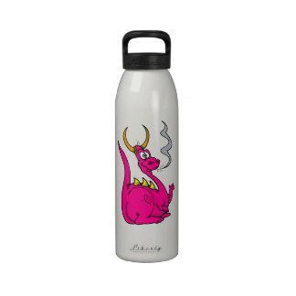 Hot Pink Little Dragon Cute png Reusable Water Bottle