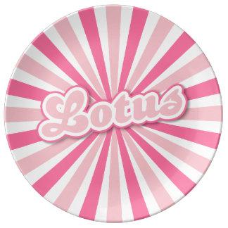 Hot Pink Lotus Porcelain Plates