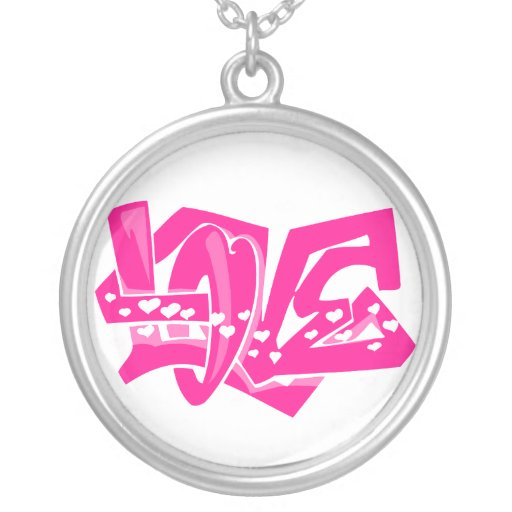 Hot Pink Love Graffiti Custom Jewelry