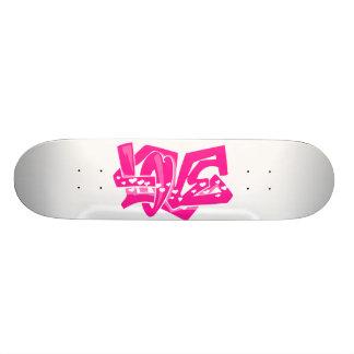 Hot Pink Love Graffiti Skateboard