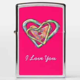 Hot Pink Love Heart Custom Valentines Zippo Lighter